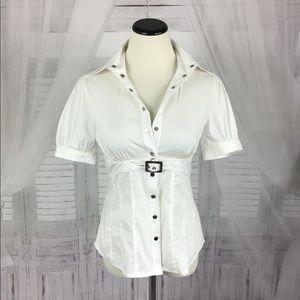 Bebe Belted Safari Button Down Shirt